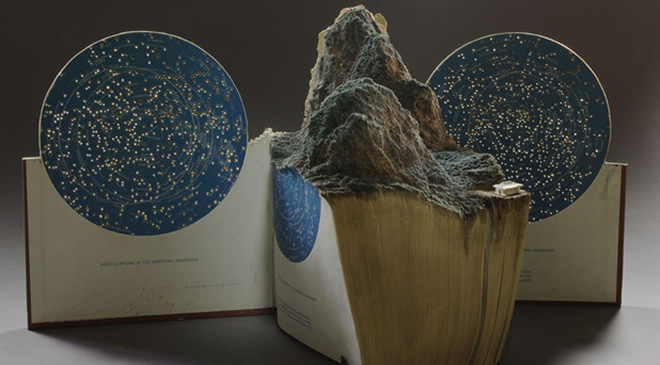 Sandblasted book sculpture from Guy Larameé