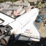 Space shuttle Endeavour in the street