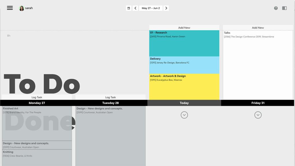 The todo screen in Streamtime